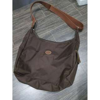 Authentic Brown LongChamp Nylon Sling Shoulder Bag