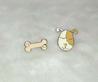 Cute Doggie and Bone Stud Earring