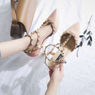 包頭女細跟2018夏季新款韓版百搭一字扣涼鞋時尚性感鉚釘高跟鞋