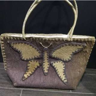 Brand New! Handmade Plant Tree Bark Woven Butterfly Bag