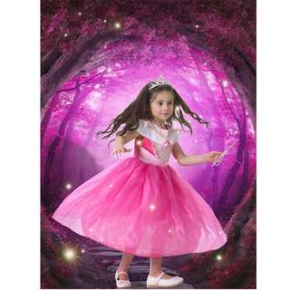 Disney Aurora Princess Dress Girl Party Wear Accessory Set