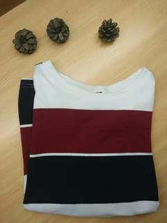 🚚 深紅藍條紋T-SHIRT #五十元好物