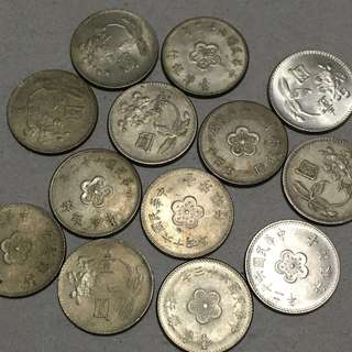 Taiwan 1960-1975 One Dollar Coin Lot
