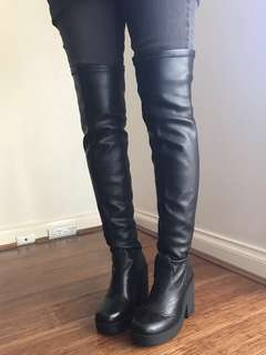 Windsor Smith Black Knee High Boots