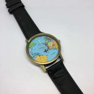 Wanderlust! Mini World Airplane Denim Strap Watch - Black