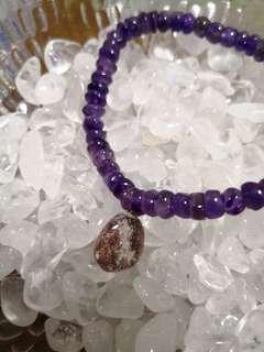 2 rounds amethyst with purple phantom charm