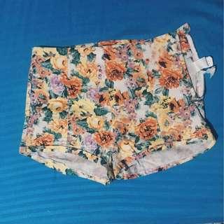 BERSHKA High Waist Floral Shorts