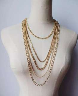 Minimalist Multi-Layer Golden Chain Necklace Earrings Set