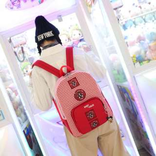 [PRE-ORDER] Women Cute Cartoons Plaid Girl Fashion Student Backpack [Brown Bear/Red Bear]