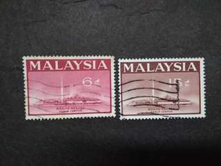 Malaysia 1965 National Mosque Kuala Lumpur Loosee Set Short Of 20c - 2v Used Stamps #1