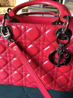 Christian Dior 'Lady Dior' Patent Medium Bag