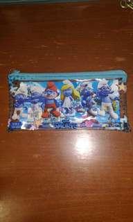 Smurf pencil case( includes pencil,eraser and sharpener)