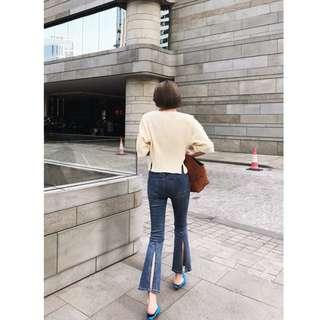 VM 夏2018新款 韓版高腰 顯瘦 薄款藍色喇叭後開叉 牛仔九分褲