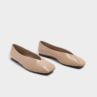Taupe square top flats