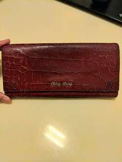 Miu Miu Long Leather Purse in Fuschia