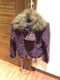 🚚 紫色絨布騎士外套