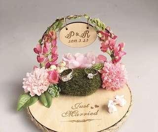 Wedding ring holder / ring box - flowery romance