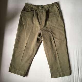 Vintage Olive Cropped Pants / Culottes