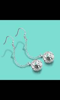 925 sterling silver earrings hollow ball pendant design national style solid silver jewelry female earrings