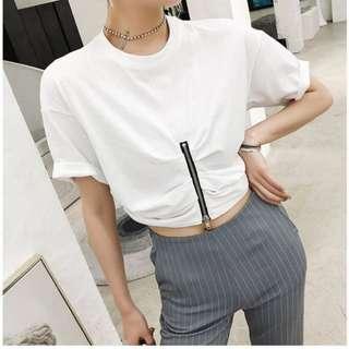 VM 2018新款 韓版顯瘦 短款露肚臍 拉鍊百搭簡約修身短袖T恤 2色