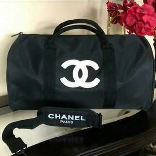 Authentic Chanel Gym Duffle bag - white embossed logo VIP Gift