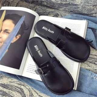 [PRE-ORDER] Women Thick Sole Slip On Flats Ladies Fashion Retro Trend Half Slipper [Black/Brown]