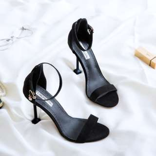 [PRE-ORDER] Women Fashion Elegant Open Toe Sexy Sandals Square Heel Ladies High Heels [Black/Green/Almond]