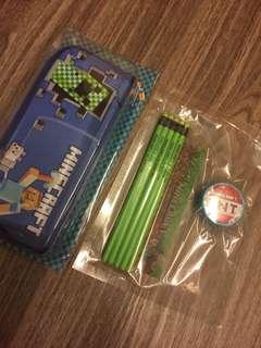 Minecraft Pencil Case & Stationery Set