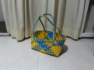 vintage weaved shopping marketing basket