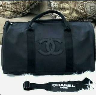 Authentic Chanel Gym Duffle bag with BLACK Stitched logo VIP Gift