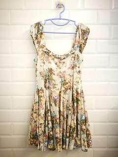 Liz Lisa Tshirt Material Rose Floral Print Dusty Blue Dress