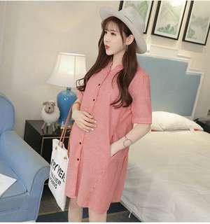 🚚 韓百搭條紋寬鬆舒適孕婦洋裝S1805131