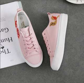 Pink Embroidered Sneakers