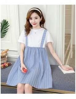 韓版甜美假二件條紋孕婦洋裝S1805133