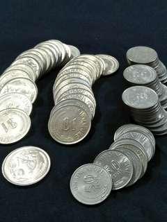 Sg Old Coins $1 ~ 30pcs.   50¢ ~ 39pcs total 69pcs offer $199.88