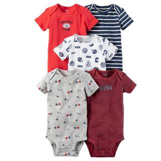 BN 6m/12m Carters 5pcs Bodysuits Ball Team