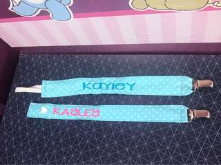 Personalised/named pacifier clip