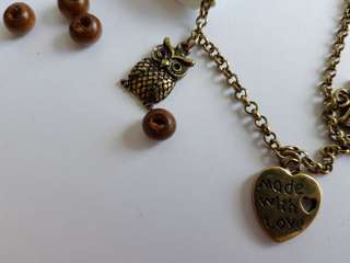 Women owl vintage bracelet with charms pendants