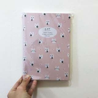 BNIP A5 Pastel Pink Cat Kittens Motif Lined Line Notebook Journal Diary Planner