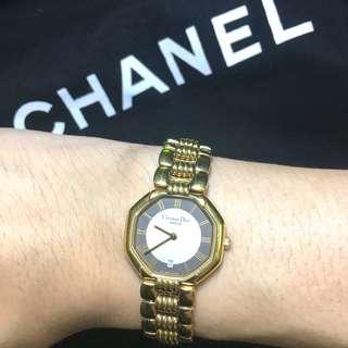 古董 Dior 18K包厚金日曆手錶 女裝 SEiKO