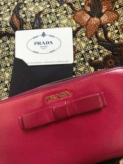 Prada Saffiano Leather Bow Zip Around Long Wallet