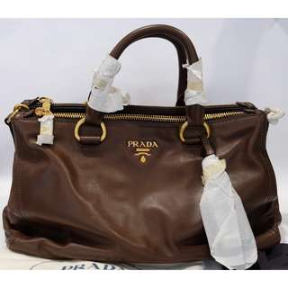 Authentic New Prada BN2324 Soft Calf Bruciato Bag