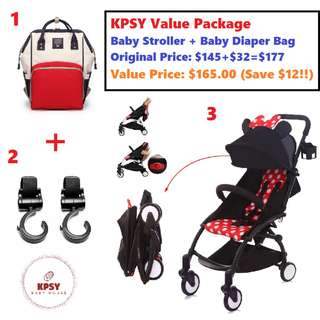 🔥165 & Free Delivery!! 🔥KPSY Value Package! Baby Stroller + Baby Diaper Bag + Stroller Hangers