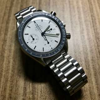 Preowned White Omega Reduced Speedmaster 375.0032/ 3810.20 Faded Bezel