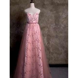 雜誌款* 粉色晚裝 晚裝 紗婚 pre wedding婚禮物資 幸福承傳 gown