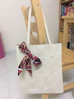 BN White Leather Bag with Ribbon