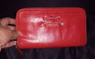 Prada long zippy wallet red