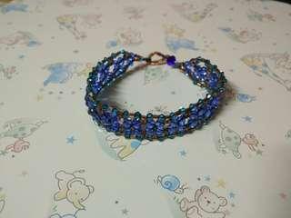 藍綠花形水晶手鏈 blue turquoise green floral shape bracelet flower