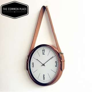 Vintage Rose Gold Copper Wall Clock with Leather Belt Strap