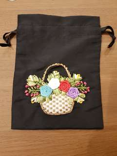 Black Embroidery drawstring pouch Bag